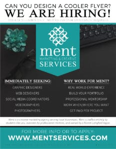 Ment Marketing & Creative Services now Hiring Poster