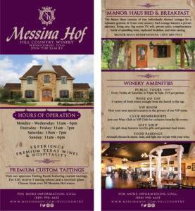 Messina Hof Winery Rack Card