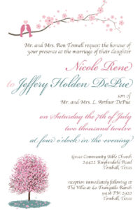 Wedding Custom Invitation (info edited for privacy)