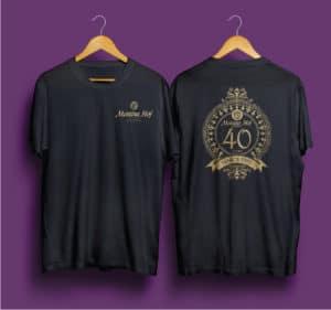 Custom 40th Anniversary Crest on Tshirt Mockup
